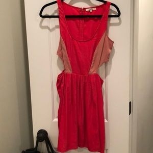 Red and light pink cut out dress